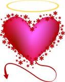 Coração, anjo ou mal Loving? Foto de Stock Royalty Free