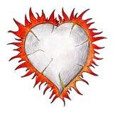 Coração ardente no branco. Desenho real. Fotos de Stock
