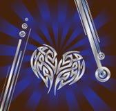 Coração azul de prata Fotos de Stock