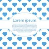 Coração azul do Valentim no branco com quadro oval Foto de Stock