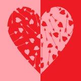 Coração bicolor de vermelho e de cor-de-rosa ilustração do vetor