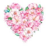 Coração bonito com as flores cor-de-rosa da aquarela e brancas tiradas mão Imagem de Stock
