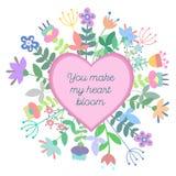 Coração bonito com fundo floral e placa com espaço vazio para o texto Fotografia de Stock Royalty Free