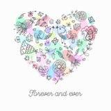 Coração bonito da garatuja com fundo floral e espaço para o texto Imagens de Stock
