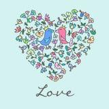 Coração bonito da garatuja com fundo floral e pássaros Imagem de Stock Royalty Free
