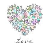 Coração bonito da garatuja com fundo floral e pássaros ilustração do vetor