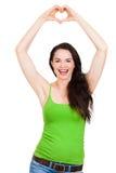 Coração bonito feliz do amor do formign da mulher Fotos de Stock Royalty Free