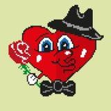 Coração bonito na arte do pixel ilustração do vetor