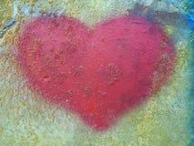 Coração bonito pintado na parede imagens de stock royalty free
