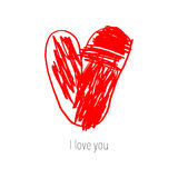 Coração bonito tirado mão Cartão do projeto do dia de Valentim ilustração royalty free