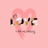 Coração bonito tirado mão Fonte criativa original do amor Cartão do projeto do dia do ` s do Valentim ilustração do vetor