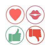 Coração, bordos, polegar para cima e para baixo ícones Fotos de Stock Royalty Free