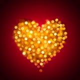 Coração borrado brilhante do ouro Imagens de Stock Royalty Free