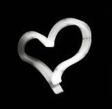 Coração branco abstrato no fundo preto Imagens de Stock Royalty Free
