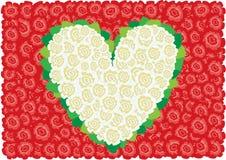 Coração branco das rosas Fotografia de Stock