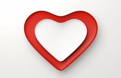 Coração branco e vermelho no fundo branco 3d rendem ilustração do vetor