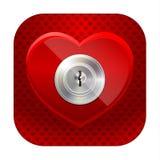 Coração brilhante com um buraco da fechadura Imagem de Stock Royalty Free