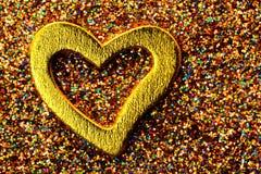 Coração brilhante do ouro Fotografia de Stock Royalty Free