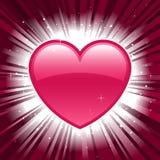Coração brilhante do Valentim no fundo do estouro da estrela Imagem de Stock Royalty Free