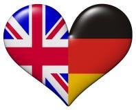 Coração BRITÂNICO e alemão Foto de Stock