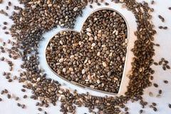 Coração Chia Seeds saudável Fotografia de Stock Royalty Free