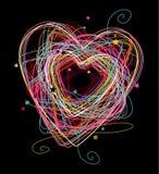 Coração colorido do Doodle ilustração royalty free