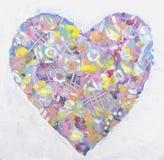 Coração colorido do Grunge no estilo abstrato Arte do amor Fotos de Stock Royalty Free