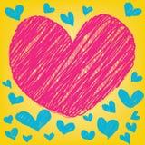 Coração colorido mágico abstrato no fundo amarelo Fotografia de Stock Royalty Free