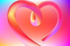 Coração colorido vibrante corajoso brilhante do contorno 3d ilustração royalty free