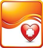 Coração com ícone dos primeiros socorros no anúncio alaranjado da onda Fotografia de Stock