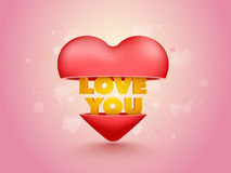 Coração com amor que você Text para o dia do ` s do Valentim Imagem de Stock