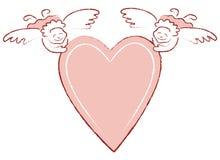 Coração com anjos Imagens de Stock Royalty Free