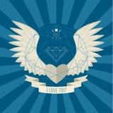 Coração com as asas no azul Foto de Stock Royalty Free