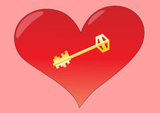 Coração com chave Fotos de Stock Royalty Free