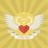 Coração com chifres e asas dos cervos no amarelo Fotos de Stock