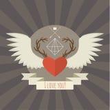 Coração com chifres e asas dos cervos no cinza Fotos de Stock