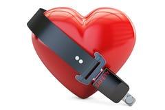 Coração com correia de segurança, segurança e conceito do seguro 3d ilustração stock