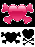 Coração com crossbones ilustração stock