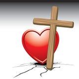 Coração com cruz em terra rachada Imagens de Stock