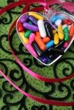 Coração com doces Fotos de Stock Royalty Free