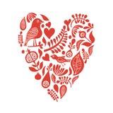 Coração com elementos florais Imagens de Stock Royalty Free