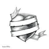 Coração com estilo da gravura do desenho da mão da bandeira, símbolo para a tatuagem Fotos de Stock