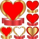 Coração com fita Fotos de Stock