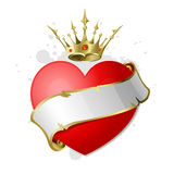 Coração com fita e coroa. Fotos de Stock Royalty Free