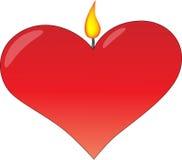 Coração com flama Imagens de Stock