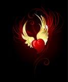 Coração com folha das asas Imagens de Stock