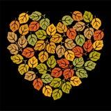 Coração com folhas Foto de Stock Royalty Free