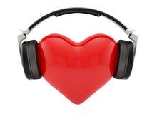 Coração com fones de ouvido ilustração royalty free