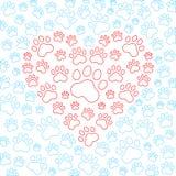 Coração com fundo das patas do cão ou do gato Vetor Fotografia de Stock Royalty Free