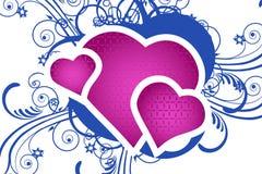 Coração com fundo floral ilustração do vetor